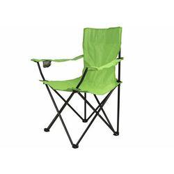Turystyczne kampingowe krzesło składane jasno-zielone z miejscem na napoje