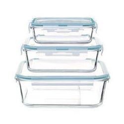 Szklane, żaroodporne pojemniki z pokrywką do przechowywania żywności, 3 sztuki w zestawie