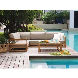 Meble ogrodowe brązowe - drewniane - tarasowe - sofa + stół - TIMOR