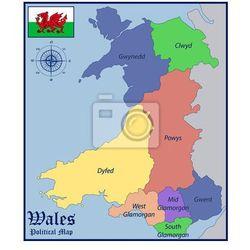 Plakat Mapa polityczna i Flaga Walii - produkt dostępny w REDRO