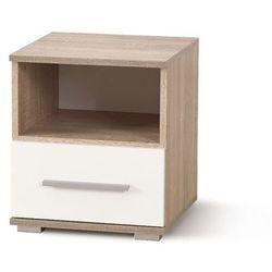 Style furniture Puno szafka nocna dąb sonoma/biały wysoki połysk