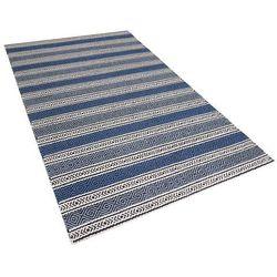 Beliani Dywan niebiesko-szary - 140x200 cm - wełna - chodnik - kilim - patnos