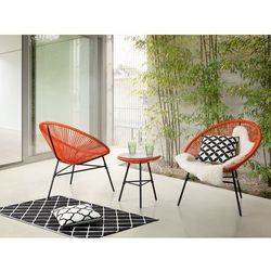 Meble ogrodowe pomarańczowe - balkonowe - stół z 2 krzesłami - ACAPULCO