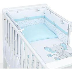 MAMO-TATO 3-el dwustronna rozbieralna pościel dla niemowląt 90x120 Słoniątka turkusowe / turkus
