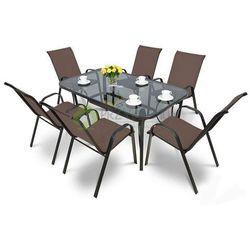 Meble ogrodowe BOLOGNA 6 krzeseł taupe