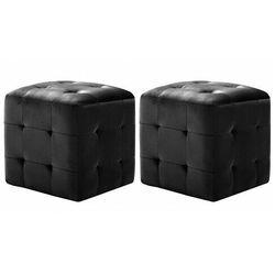Zestaw dwóch czarnych puf do salonu - zauri 4x marki Elior