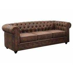 Sofa 3-osobowa chesterfield z mikrofibry o wyglądzie postarzonej skóry marki Vente-unique
