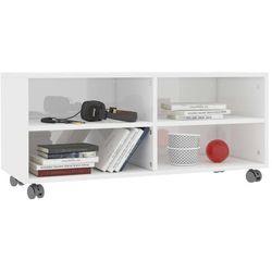 vidaXL Szafka pod TV z kółkami, wysoki połysk, biała, 90x35x35 cm