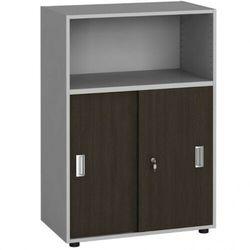 Szafa biurowa kombinowana, przesuwne drzwi, 1087 x 800 x 420 mm, wenge
