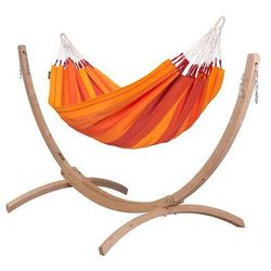 La siesta Zestaw hamakowy: hamak orquidea ze stojakiem canoa, pomarańczowy orh14cns121