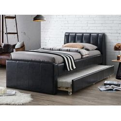 Łóżko wysuwane andrea - 2 × 90 × 190 cm - materiał skóropodobny czarny marki Vente-unique