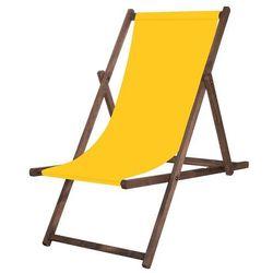 Leżak drewniany impregnowany z żółtą tkaniną marki Springos