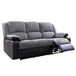 Sofa BILSTON II – 3-osobowa, typ relaks, mikrofibra i skóra syntetyczna – kolor szaro-czarny