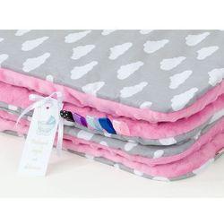 Mamo-tato komplet kocyk minky do wózka + poduszka chmurki białe na szarym / róż