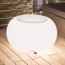 Stół bubble, białe światło i szklany blat marki Moree
