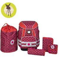 Lassig - Plecak szkolny XL ze sztywnymi plecami, 2 piórnikami, workiem i saszetką - Dottie red, kolor czerwo