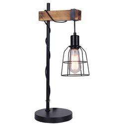 Biurkowa lampka retro ponte tb-4290-1 stojąca lampa stołowa industrialna klatka drewno czarna marki Italux