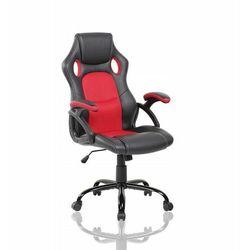 Modernhome Fotel gamingowy, kubełkowy, krzesło dla gracza, ekoskóra, kolor czarny