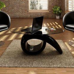 Czarny stolik kawowy o owalnym, szklanym blacie, wysoki połysk
