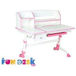 Fundesk Amare ii pink drawer - ergonomiczne, regulowane biurko dziecięce z nadstawką i szufladą