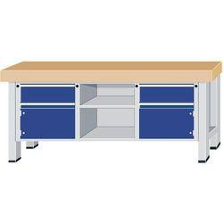 Stół warsztatowy do dużych obciążeń,szer. blatu 2250 mm, z 2 szufladami i 2 drzwiami skrzydłowymi, 1 ot
