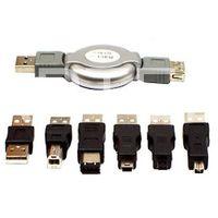 PRZEJŚCIÓWKI NA USB Z ROZWIJANYM KABLEM - 6 cz