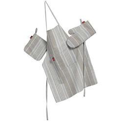 Dekoria Komplet kuchenny fartuch,rękawica i łapacz, lniano-beżowe pasy, kpl, Rustica - produkt z kategorii- Fartuchy kuchenne