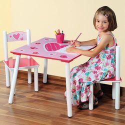 Kesper Drewniany stolik dla dzieci i 2 krzesła w kolorze różowym z motywem serca, stolik z krzesełkami dla dzieci, meble dla dzieci,