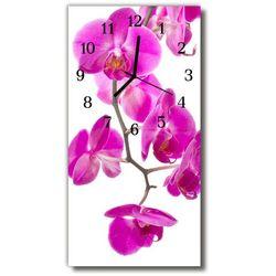 Zegar Szklany Pionowy Kwiaty Storczyki różowy
