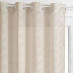 Firana okienna w drobne poprzeczne paseczki naturalny kolor lnu – 240 x 140 cm (3560234528420)