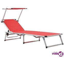 Vidaxl składany leżak z daszkiem, aluminium i textilene, czerwony