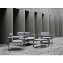 Meble ogrodowe jasnoszare - stół - sofa - 2 krzesła - aluminium - salerno marki Beliani