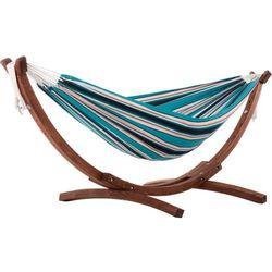 Hamak dwuosobowy Sunbrella + drewniany stojak, Niebieski C8SPSN
