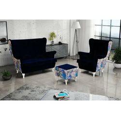 """Zestaw """"RIKI"""" sofa + fotel+podnóżek - granatowy, kolor niebieski"""