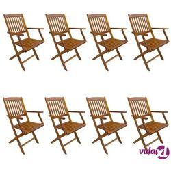 Vidaxl składane krzesła ogrodowe, 8 szt., lite drewno akacjowe