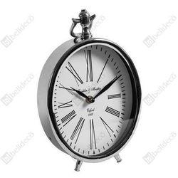 Zegar stojący GABINET C528224 Belldeco owalny srebrny biały