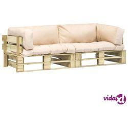 vidaXL Meble ogrodowe z palet, piaskowe poduszki, 2 szt., drewno FSC