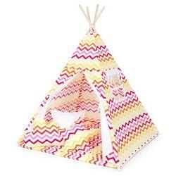 Mamo-tato namiot tipi duży z matą i poduszkami zygzak żółto-czerwony / biały