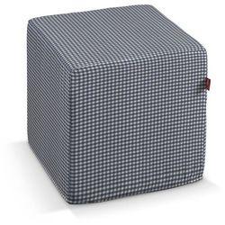 pufa kostka, granatowo biała krateczka (0,5x0,5cm), 40 × 40 × 40 cm, quadro marki Dekoria