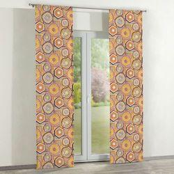 Dekoria zasłony panelowe 2 szt., etniczne żółto-brązowo-pomarańczowe wzory na kremowym tle, 60 × 260 cm