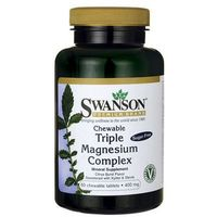 Swanson Triple Magnesium Complex 400mg 60 tabletek do ssania - tabletki witaminy i minerały