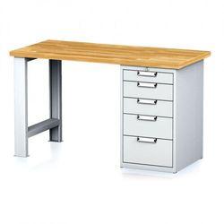 Stół warsztatowy MECHANIC, 1500x700x880 mm, 1x szufladowy kontener, 5 szuflad, szary/szary