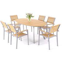 Home&garden Meble ogrodowe home&garden 411508 lorenzo aluminiowe srebrno-teak + darmowy transport!