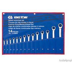 ZESTAW KLUCZY PŁASKO-OCZKOWYCH Z GRZECHOTKĄ JEDNOKIERUNKOWĄ 14cz. 8 - 24mm King Tony 12114MRN