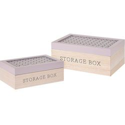 Home styling collection Komplet drewnianych pudełek, ozdobne kuferki na drobiazgi, zestaw 2 szt - różowy