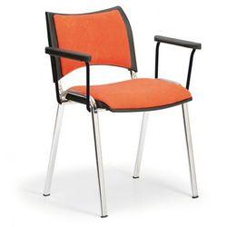 Krzesła konferencyjne SMART - chromowane nogi, z podłokietnikami, pomarańczowy