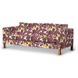 Dekoria Pokrowiec na sofę Karlanda 3-osobową nierozkładaną, krótki, żółto-brązowe kwiaty, Sofa Karlanda 3-os, Wyprzedaż do -30%, kolor brązowy