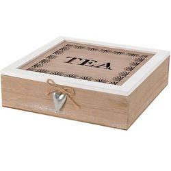 Emako Drewniana herbaciarka tea z serduszkiem, pudełko na herbaty - 9 przegródek (8711295649844)