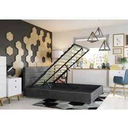 Big meble Łóżko 140x200 tapicerowane monza + pojemnik ciemno szare welur