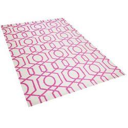 Dywan różowo-kremowy140 x 200 cm krótkowłosy lamia marki Beliani
